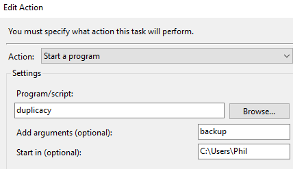 Duplicacy backup actions tab